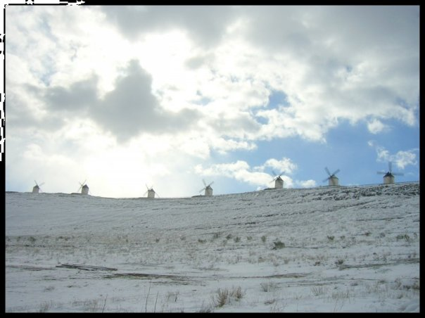 Windmills in snow